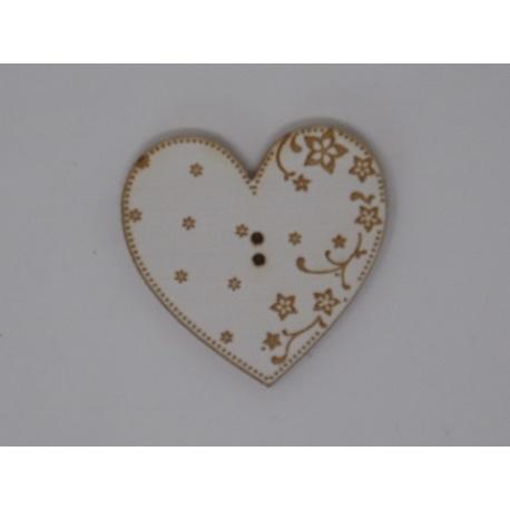 Coeur Eleonore blanc gravé (bouton)