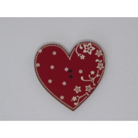 Coeur Eleonore laqué rouge gravé (bouton)