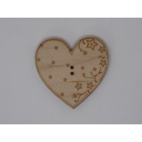 Coeur Eleonore érable gravé (bouton)