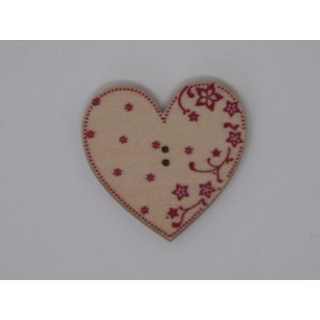 Coeur Eleonore érable gravure rouge (bouton)