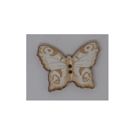 Papillon gravé blanc (bouton)