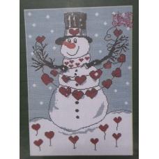 Bonhomme de neige aux coeurs rouges