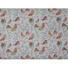 Tissu  Rouge-gorges :  coupon 50 X 75 cm