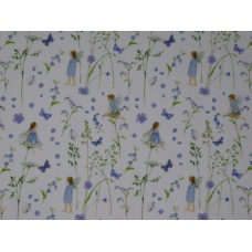 Tissu  Elfes des jardins Bleu :  coupon 50 X 75 cm