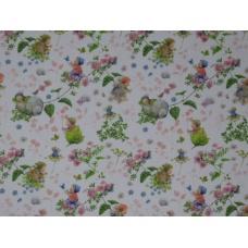 Tissu  Bébés et fleurs roses :  coupon 50 X 75 cm