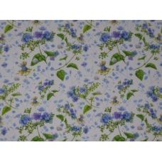 Tissu  Bébés et hortensias bleus :  coupon 50 X 75 cm