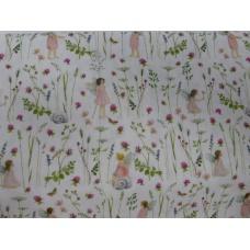 Tissu  Elfes des jardins Rose :  coupon 50 X 75 cm