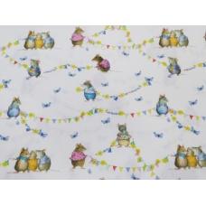Tissu  Les souris d'Eté:  coupon 50 X 75 cm
