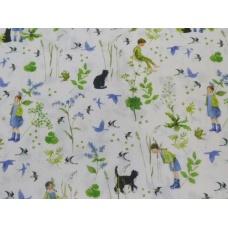 Tissu Imelda et le chat :  coupon 50 X 75 cm