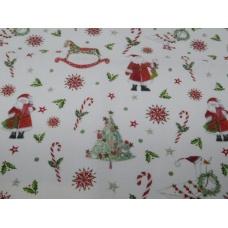 Tissu Le Jour du Père Noël : coupon 50 X 75 cm