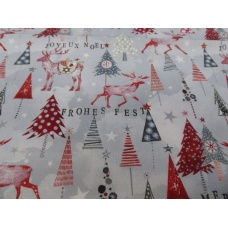 Tissu Cerfs et Sapins de Noël : coupon 50 X 75 cm