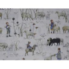 Tissu Enfants en Hiver + Moutons :  coupon 50 X 75 cm