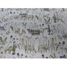 Tissu Enfants en Ete + Moutons :  coupon 50 X 75 cm
