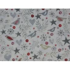 """Tissu """"Oiseaux d'argent"""" : coupon 50 X 75 cm"""