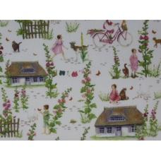 """Tissu """"Village d'été"""" : coupon 50 X 75 cm"""