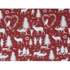 """Tissu """"Forêt des lutins - rouge"""""""